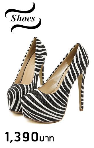 ** ไซส์ 43 ** รองเท้าส้นสูง ลายม้าลาย สีขาวดำ ส้นสูง 6 นิ้ว นำเข้าเกาหลีแท้ งานคุณภาพ รองเท้าไซส์ใหญ่ ส้นสูงไซส์ใหญ่ พิเศษ รองเท้าแฟชั่นเกาหลีไซส์ใหญ่พิเศษ