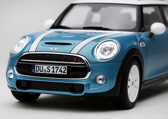 โมเดลรถ โมเดลรถเหล็ก โมเดลรถยนต์ Mini Cooper S sky blue 3
