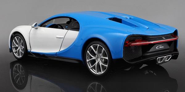 โมเดลรถยนต์ โมเดลรถเหล็ก Bugatti Chiron blue white 2