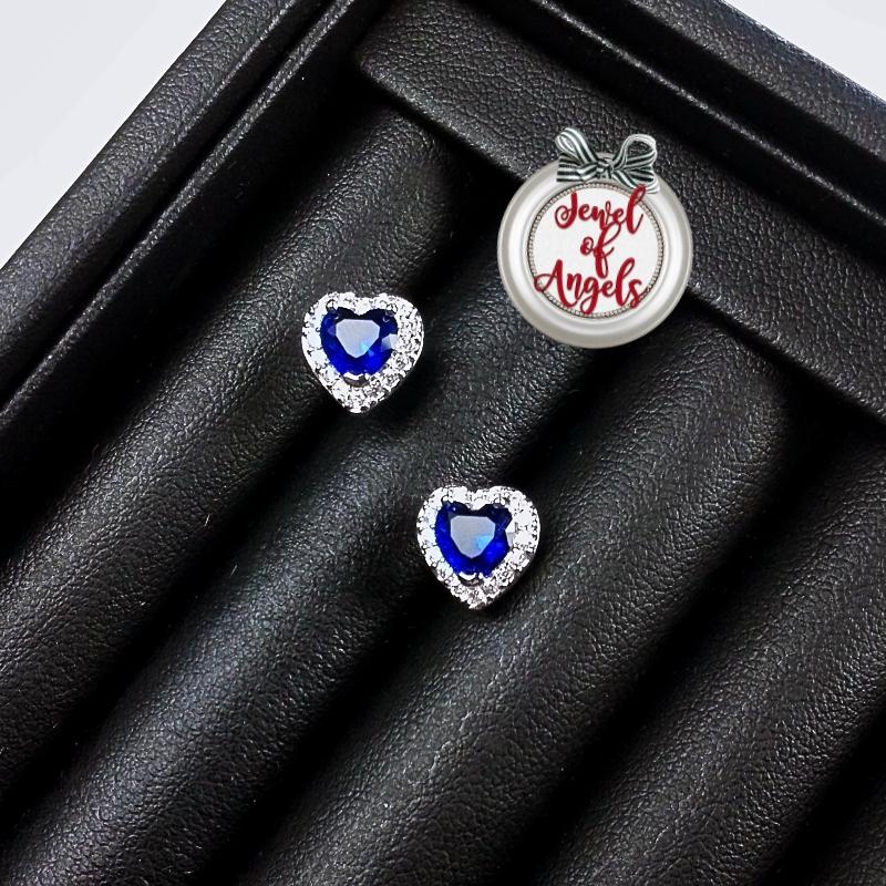 ต่างหู,ตุ้มหูก้านเงินแท้ S925รูปหัวใจเพชรคริสตัลCZสีน้ำเงิน[แถมกล่องค่ะ]