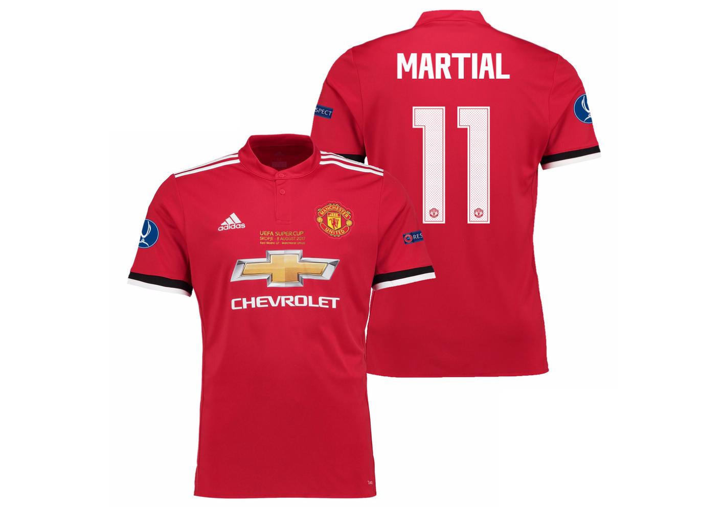 เสื้อแมนเชสเตอร์ ยูไนเต็ด 2017 2018 ทีมเหย้า UEFA Super Cup 2017 รอบสุดท้าย Martial 11 ของแท้