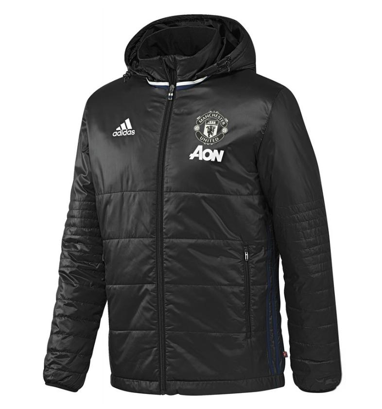 เสื้อแจ็คเก็ตอดิดาสแมนเชสเตอร์ ยูไนเต็ด เสื้อเทรนนิ่งเพดเดดแจ็คเก็ตมีฮู้ดของแท้