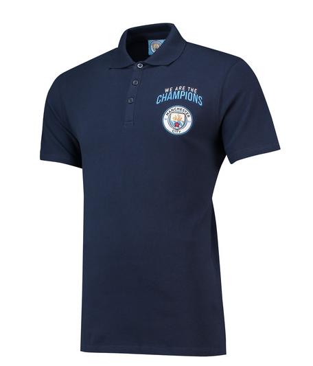เสื้อโปโลแมนเชสเตอร์ ซิตี้ แชมป์พรีเมียร์ลีก 2018 สีน้ำเงินของแท้