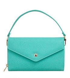 [ Pre-Order ] - กระเป๋าสตางค์แฟชั่น สไตล์เกาหลี สีเขียวมิ้นต์ ใบใหญ่(รุ่นใหม่หนังสวย) แต่งมงกุฎ งานหนังอัดลายสวยน่ารัก น่าใช้มากๆค่ะ