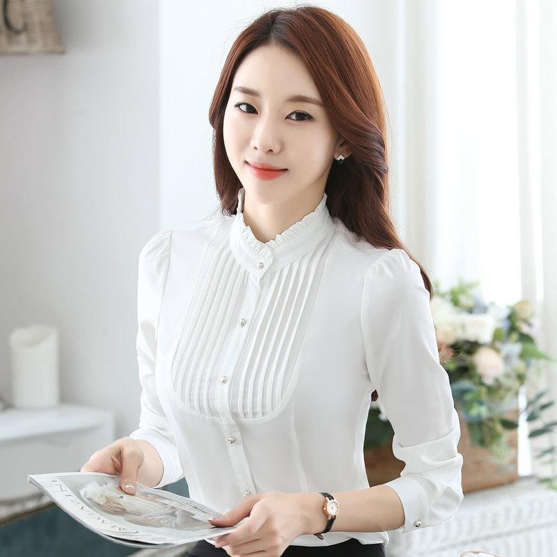 เสื้อผู้หญิงแขนยาวทำงาน สีขาว สำหรับเป็นชุดยูนิฟอร์ม ชุดพนักงาน