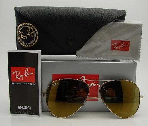 แว่นตา Ray Ban RB 3025 W3276 Crystal Gold Mirror 58mm Lens ปรอททอง