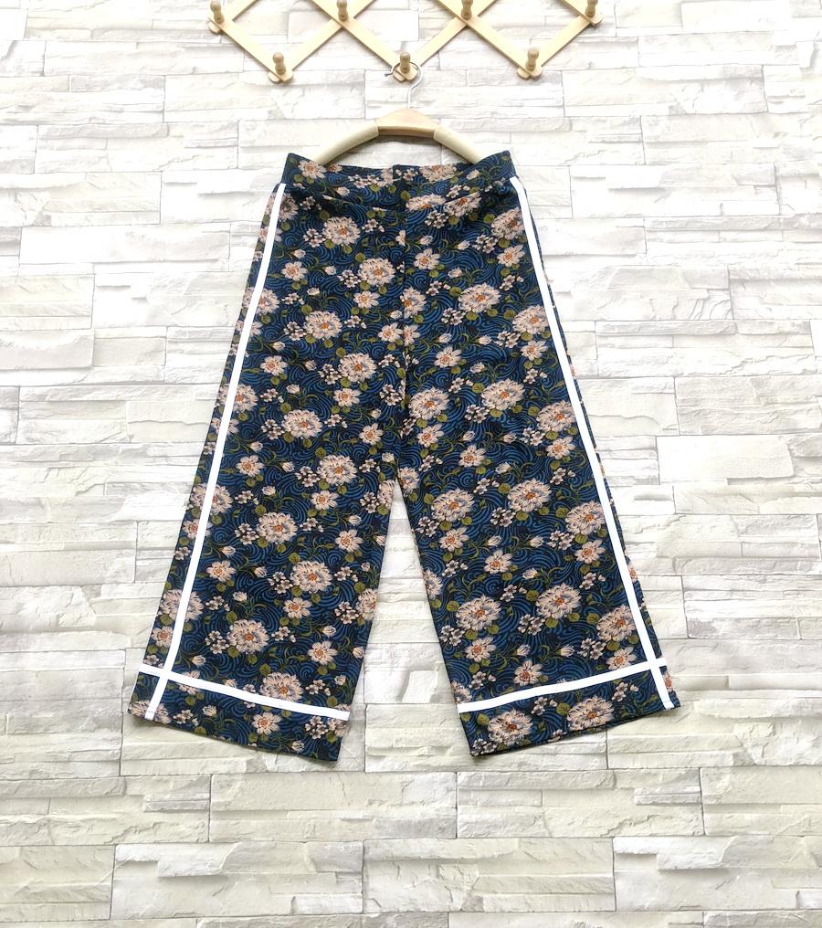 ส่ง:กางเกงขาบานใส่สบายผ้าสวยเนื้อนิ่มแต่งเส้นแถบ2ข้าง/เอวยืด27-40