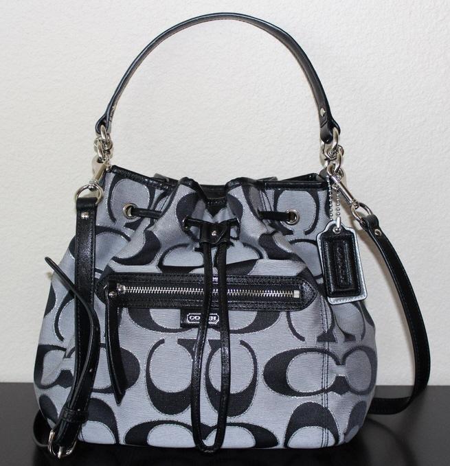 Coach 25676 Daisy Outline Signature Metallic Drawstring Shoulder Bag 108