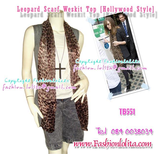 แบบสาวฮอลลีวูด TB551 :Top with Scarf: ใหม่! เสื้อคลุมแต่งด้วยผ้าชีฟองลายเสือดีไซน์เสื้อเหมือนมีผ้าพันคอ แบบเก๋ ผ้าธินวูลนิ่มไม่ร้อน สีเทา