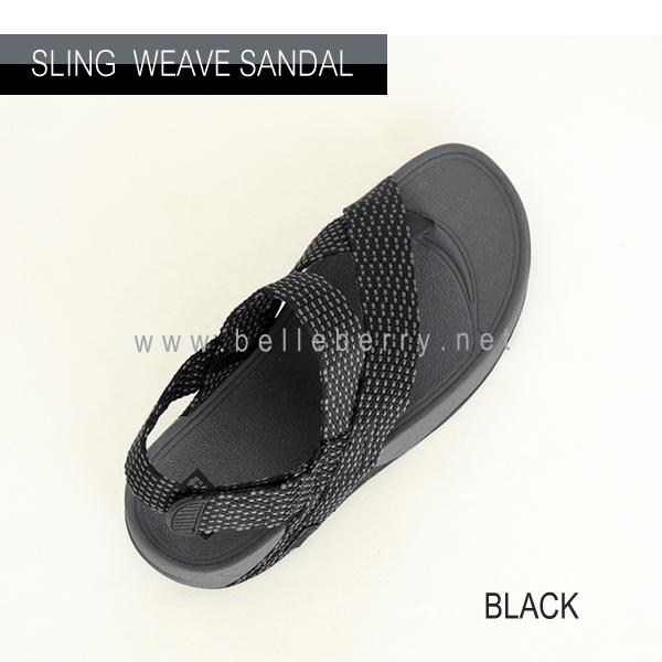 * NEW * FitFlop : Sling Mens Weave Sandal : Black / Dark Shadow : Size US 11 / EU 44