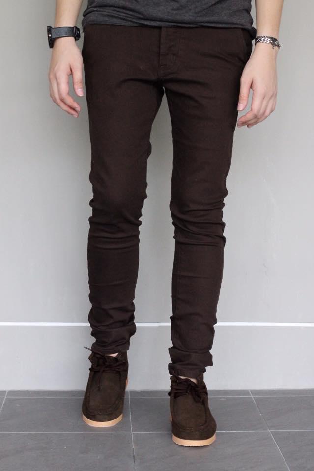 กางเกงขายาว ทรงเดฟ สีน้ำตาลเข้ม