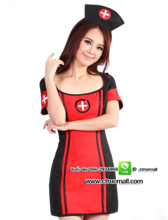 ชุดพยาบาลดำแดง ชุดแฟนซีพยาบาล ชุดแฟนซีอาชีพ ชุดแฟนซีเครื่องแบบ ชุดคอสเพลย์ ชุดพยาบาลหญิง