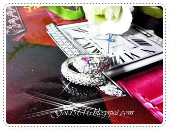แหวนเพชรรูปงูตาพลอยทับทิม/white gold plated