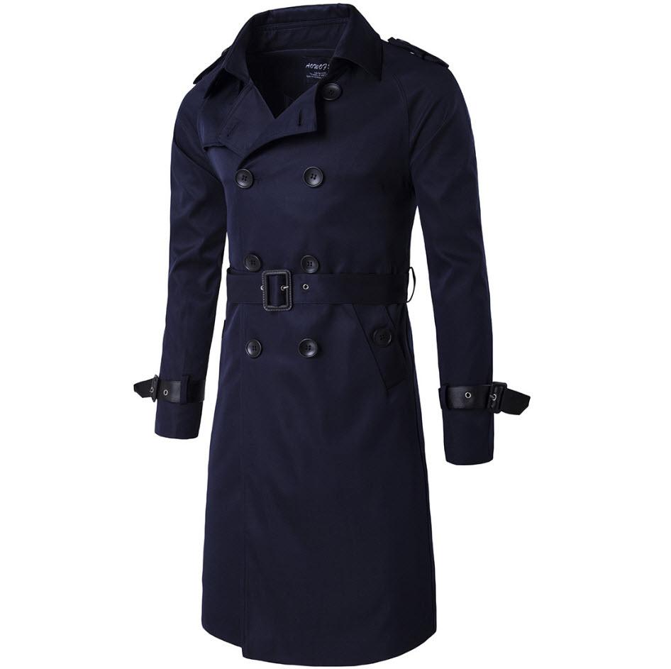 พร้อมส่ง Trench coat สีน้ำเงินกรมท่า เทรนช์โค้ทผู้ชาย ตัวยาว กระดุมหน้า 2แถว แต่งปลายแขนด้วยสายรัด มาพร้อมเข็มขัดเข้าชุด ใส่กันหนาว