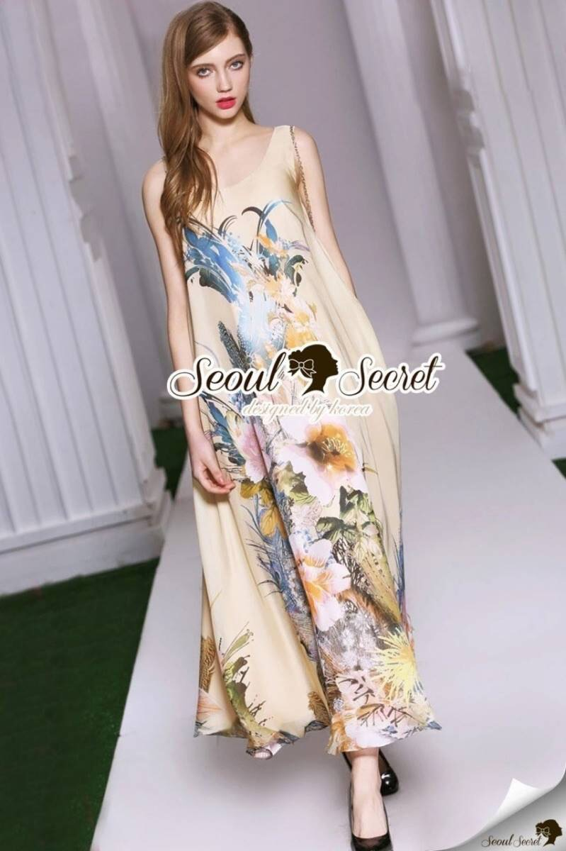 Seoul Secret Say's... Vintage Chiffon Maxi Dress