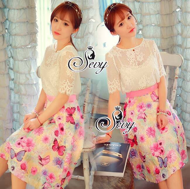 Sevy Three Pieces Of Sweet Lace T-Shirt and Lining With Flora Sweet Pink Lady Skirt