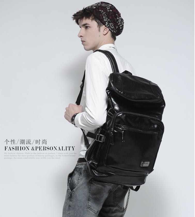 Pre-Order กระเป๋าแฟชั่นผู้ชาย กระเป๋าเป้ MCYS&JPN หนังสีดำเรียบ จุของได้เยอะ ใส่ iPad ได้ ใส่โน้ตบุคได้ สะพายสไตล์เท่ห์ แบบ backpack