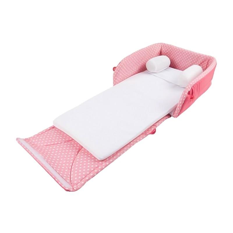 ที่นอนเด็กเล็กแบบพกพา แบบกระเป๋าหิ้ว (Pink)