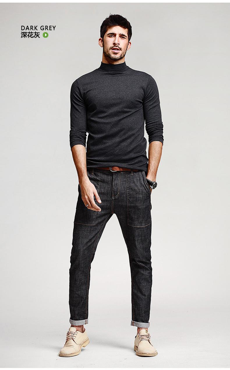 เสื้อคอเต่าผู้ชาย สีเทาดำ แขนยาว ใส่พอดีตัว เสื้อกันหนาว เนื้อผ้าดี ใส่กันหนาวได้ ใส่เดี่ยว หรือทับด้วยโค้ทได้ แมทซ์กับเสื้อสูทก็เท่ห์
