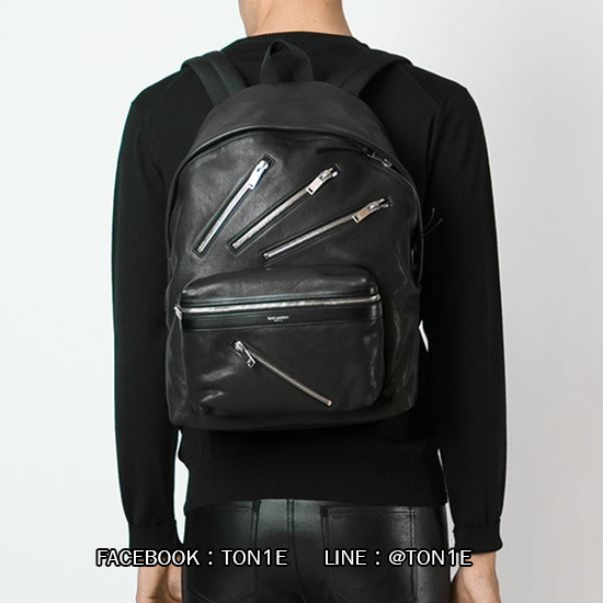 กระเป้าสะพายSaint Laurent Zippers Leather Hunting Backpack