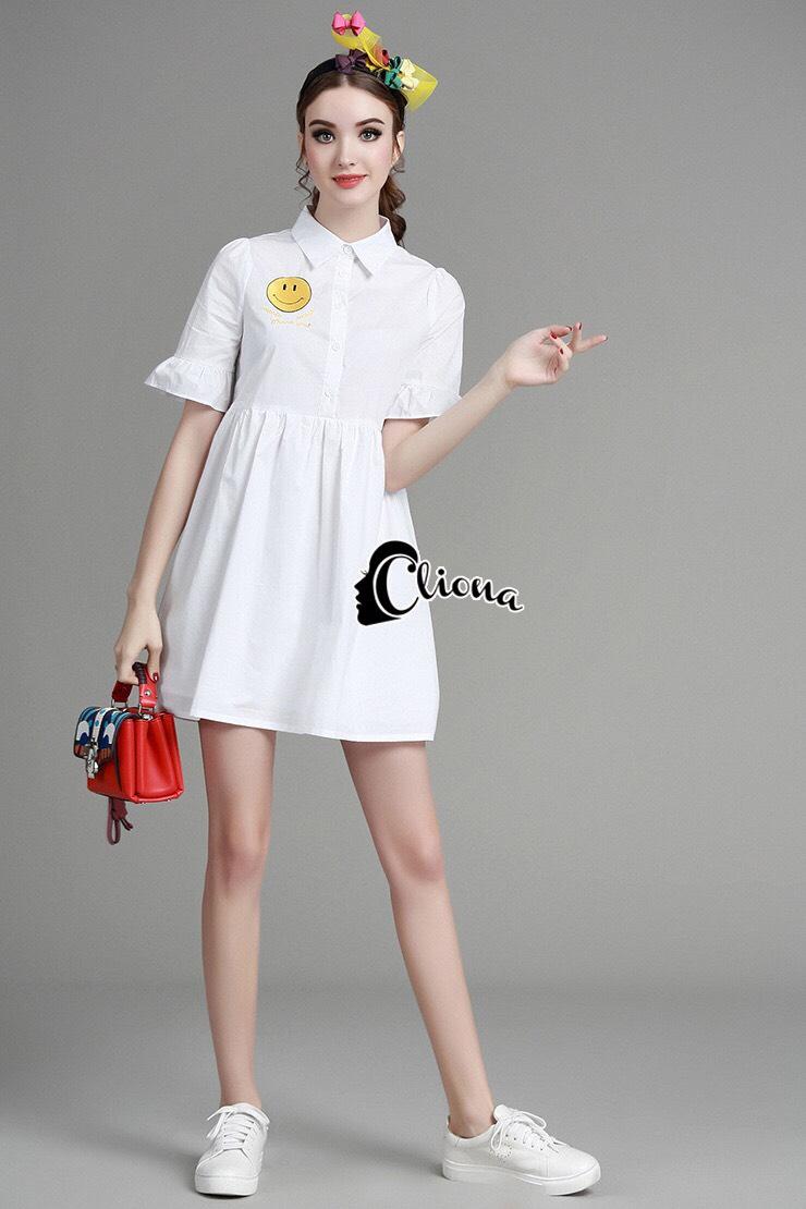เสื้อผ้าเกาหลี พร้อมส่งเดรสเชิ๊ตคอปก ผ่ากระดุมหน้าครึ่งตัว