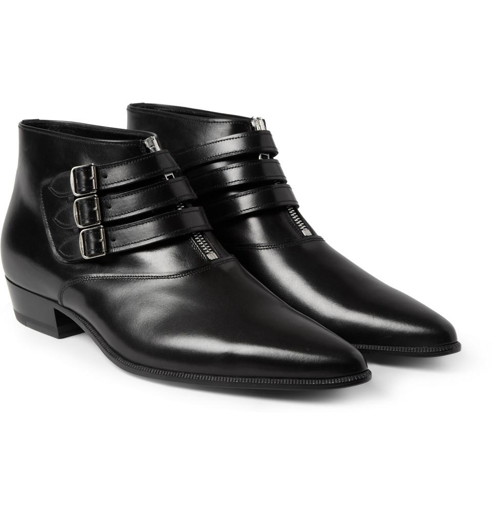 รองเท้าSAINT LAURENT BUCKLED ANKLE BOOTS
