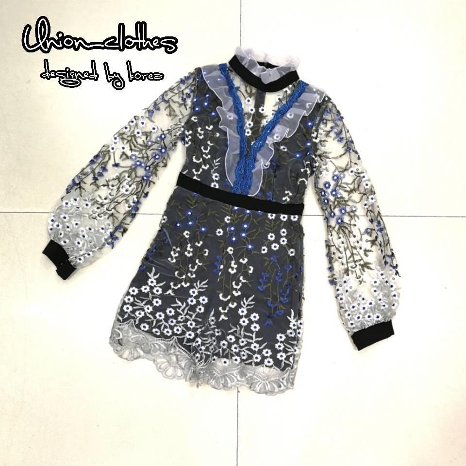 เสื้อผ้าเกาหลีพร้อมส่ง Jumpsuit งานวินเทจ แนวสาวหวาน