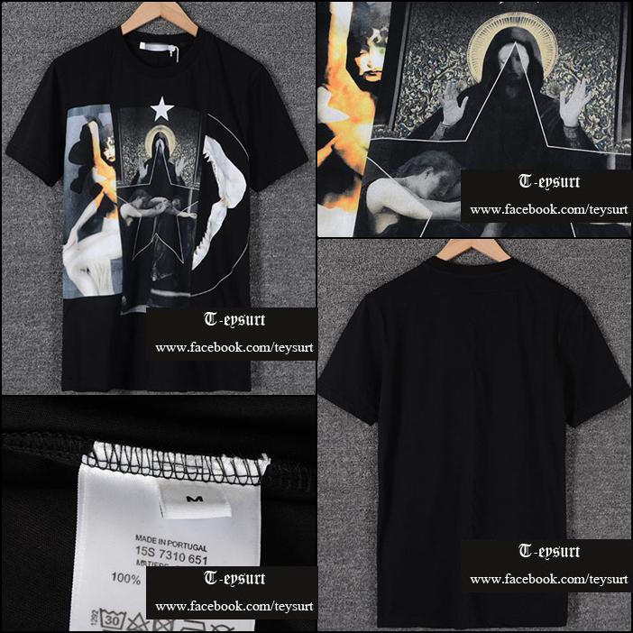 เสื้อยืดGivenchy Black Triptych Madonna Shark