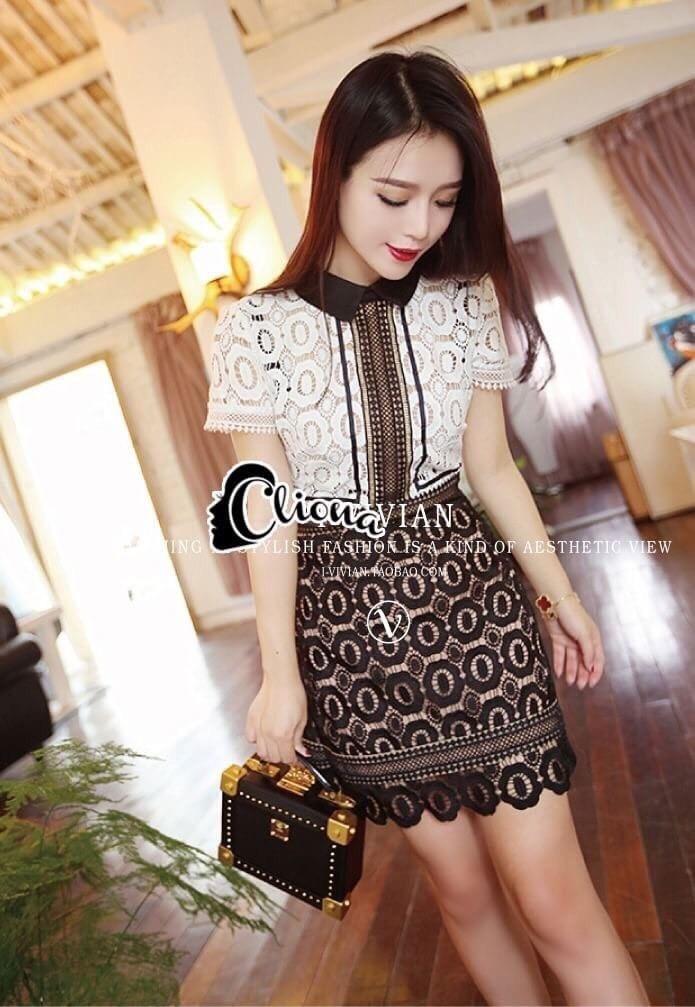 ชุดเดรสเกาหลี พร้อมส่งSel# P$rtr@it Luxury Lace Mini Dress