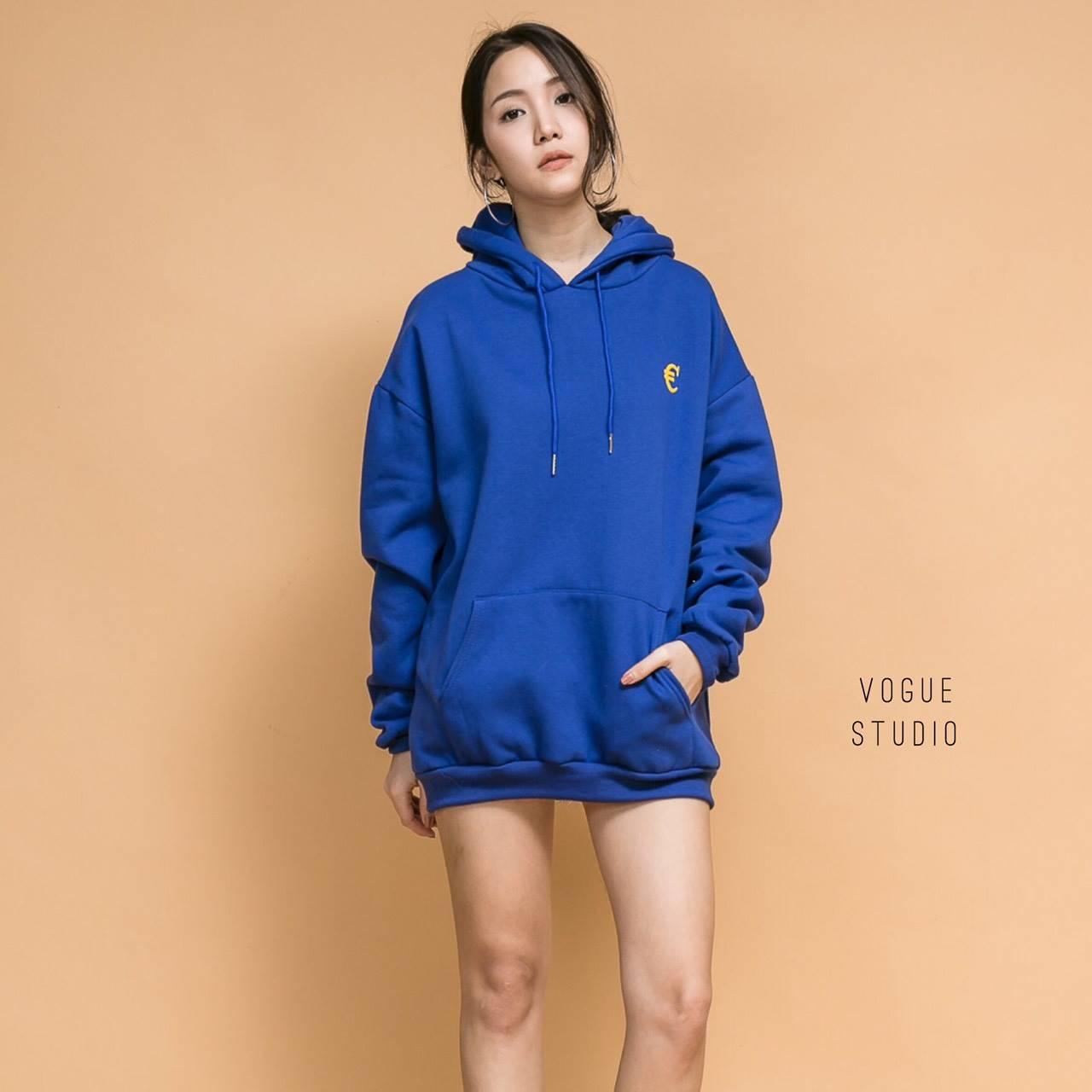 เสื้อผ้าเกาหลีพร้อมส่ง เสื้อฮู้ดแขนยาวสีน้ำเงิน