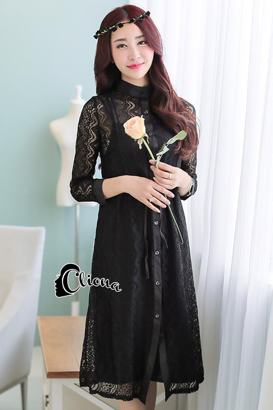 ชุดเดรสเกาหลี พร้อมส่งMini dress แขนประมาณข้อศอก