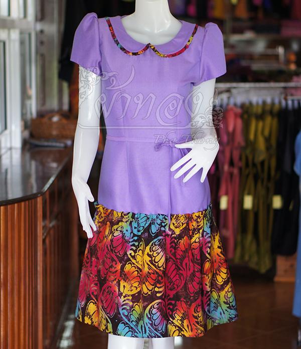 เดรสผ้าฝ้ายสุโขทัยสีม่วงแต่งผ้าฝ้ายบาติก ไซส์ XL