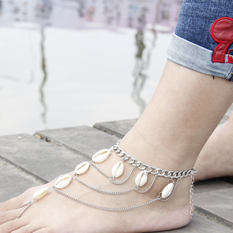 สร้อยข้อเท้าเกาหลี chain lady Accessory Ankle Idians สีทอง