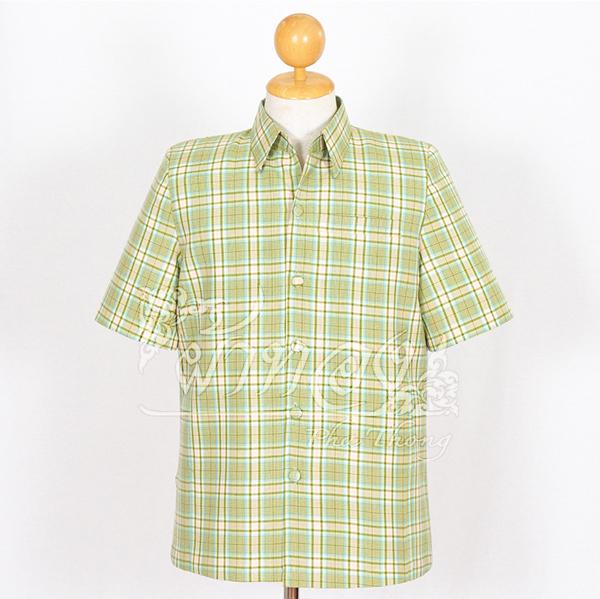 เสื้อสูทผ้าฝ้ายลายสก็อต สีเขียว ไซส์ 2XL