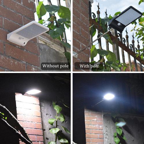 โคมไฟพลังงานแสงอาทิตย์ 450LM 36 LED ประหยัดพลังงาน กันน้ำ ติดบนผนัง ตกแต่งสวน ติดไว้ในคอกสัตว์เลี้ยง ทางเดิน ไฟเปิดเองเมื่อไม่มีแสงแดด PIR Motion Sensor มี 3 โหมด