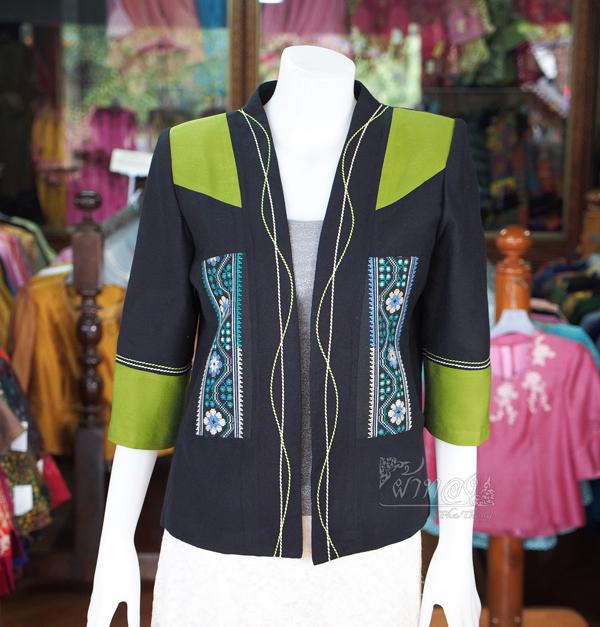 เสื้อคลุมผ้าฝ้ายสุโขทัยสีดำแต่งผ้าปักมือ ไซส์ M