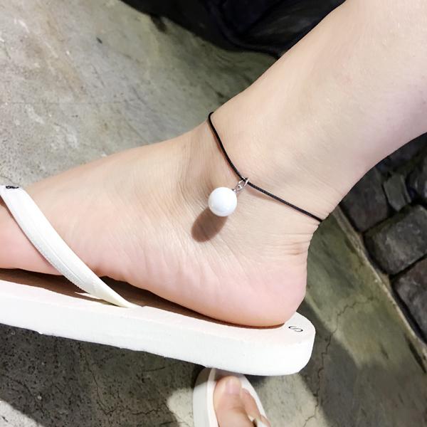 สร้อยข้อเท้า เชือกหนังร้อยไข่มุกเกาหลี
