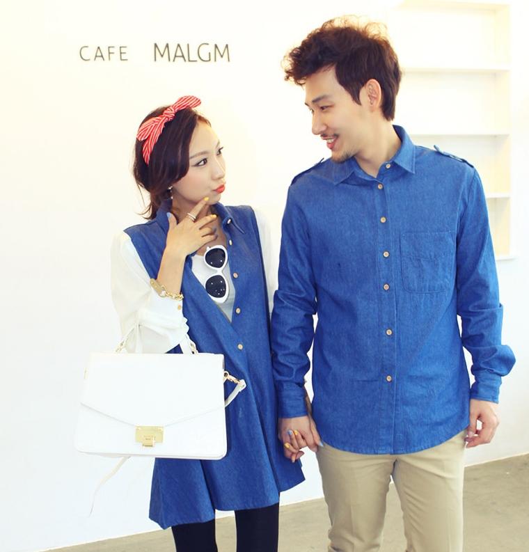 ชุดคู่รักแฟชั่นสไตล์เกาหลีเสื้อ เสื้อเชิ๊ตแขนยาวสีฟ้า ผ้าฝ้าย