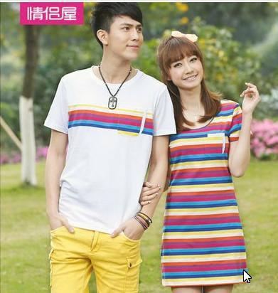 ชุดคู่รักสไตล์เกาหลี สีสันสดใส เสื้อยืด +เดรสน่ารัก ๆ