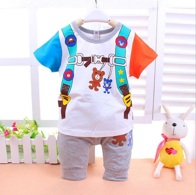 ชุดกางเกง เสื้อลายกระเป๋าเป้หมีน้อย+กางเกงสีเทา