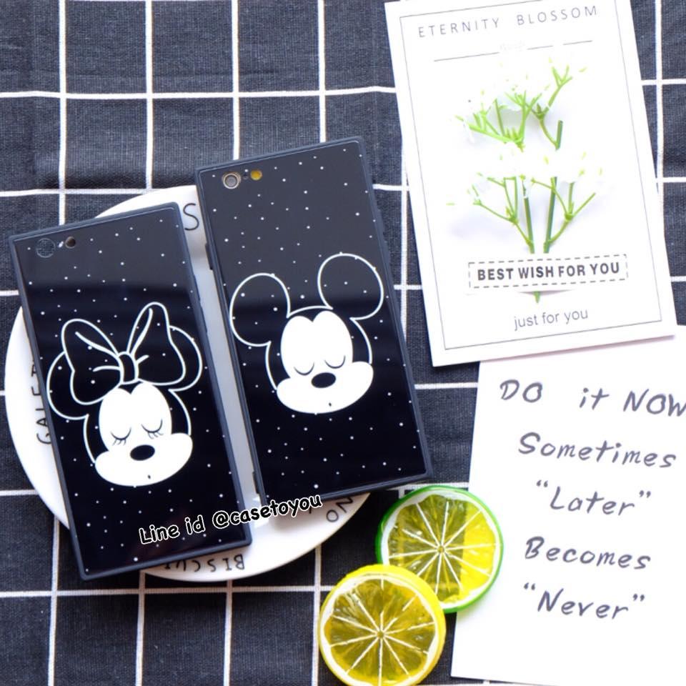 เคสขอบนิ่ม หลังกระจก Mickey & Minnie iPhone 7 Plus/ 8 Plus