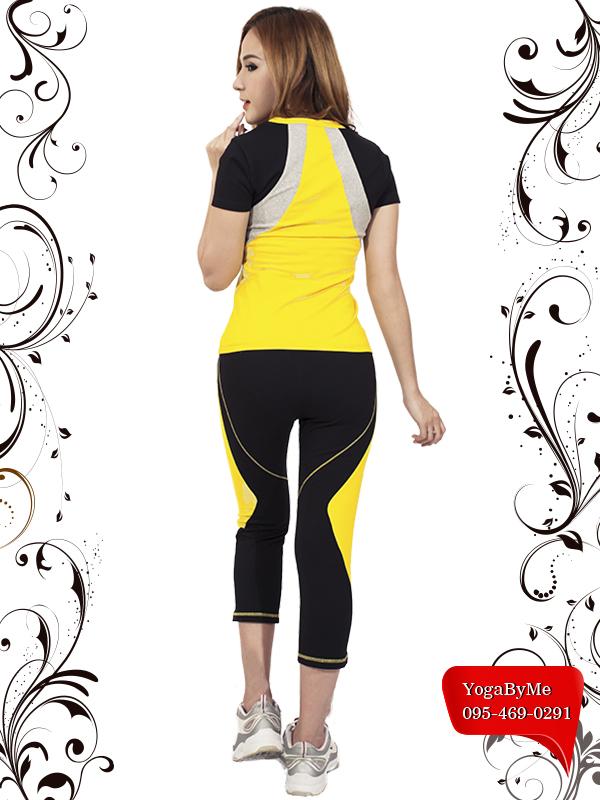 AC506 กางเกงโยคะขายาว 5 ส่วน สีดำ/เหลือง