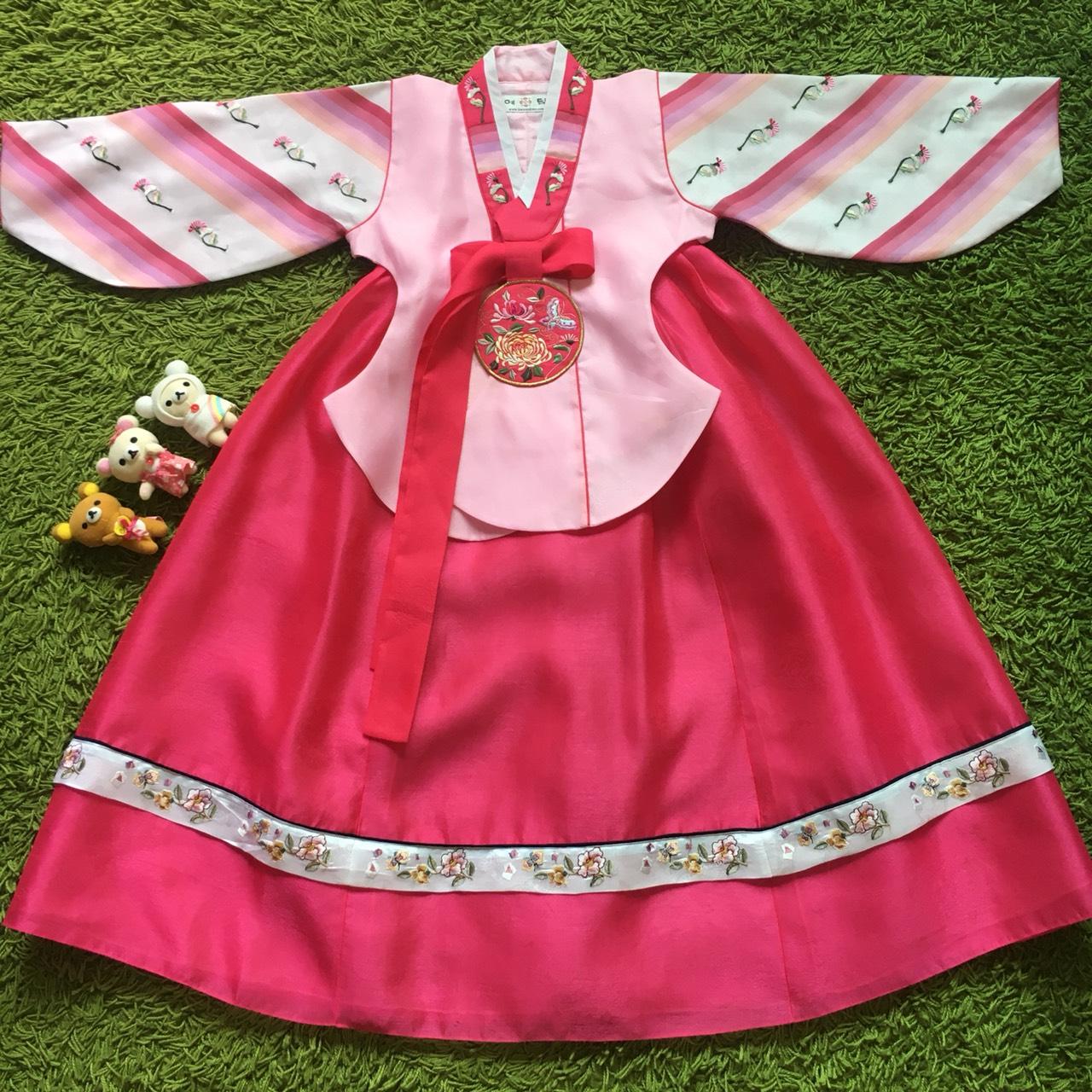 Hanbok Girl ชาววังสีชมพูแขนสลับ สำหรับเด็ก 5 ขวบ