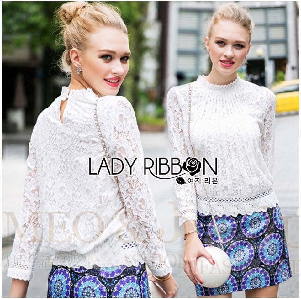 Lady Becca Smart Elegant High-Neck White Lace Blouse L254-69C02