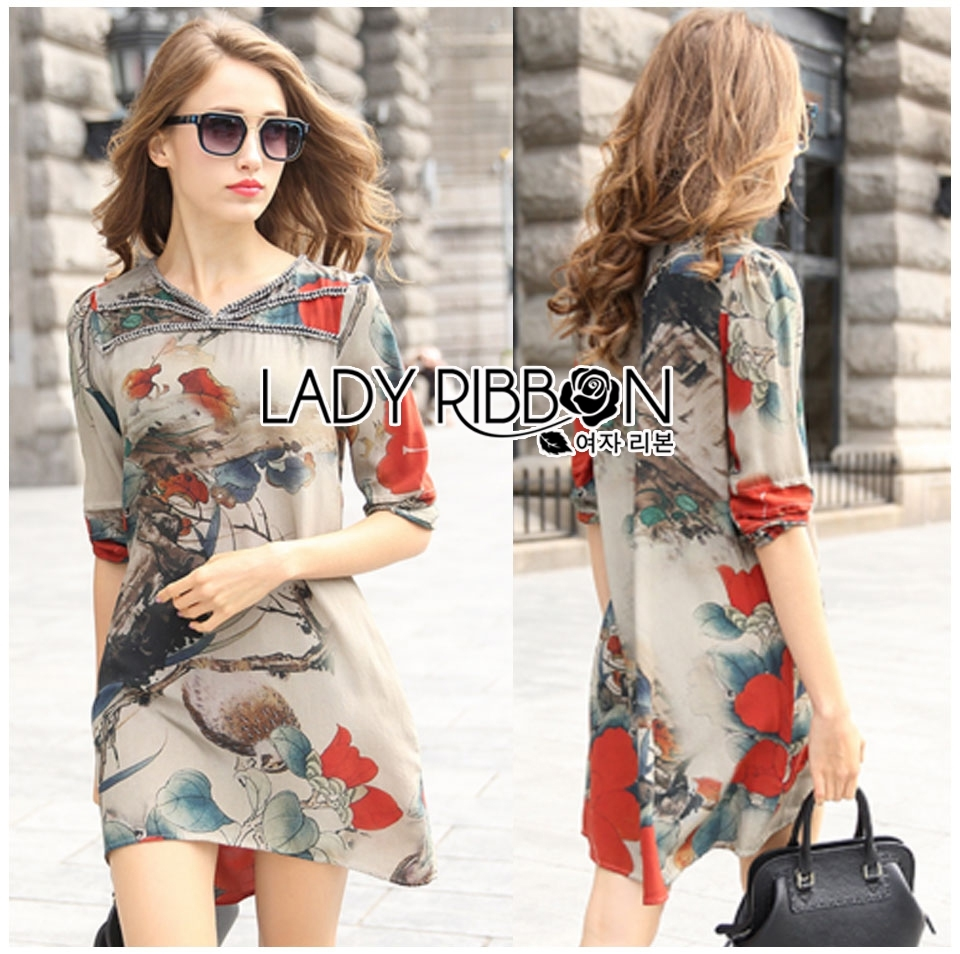 Lady Renee Smart Casual Floral Printed Embroidered Dress L199-69B11