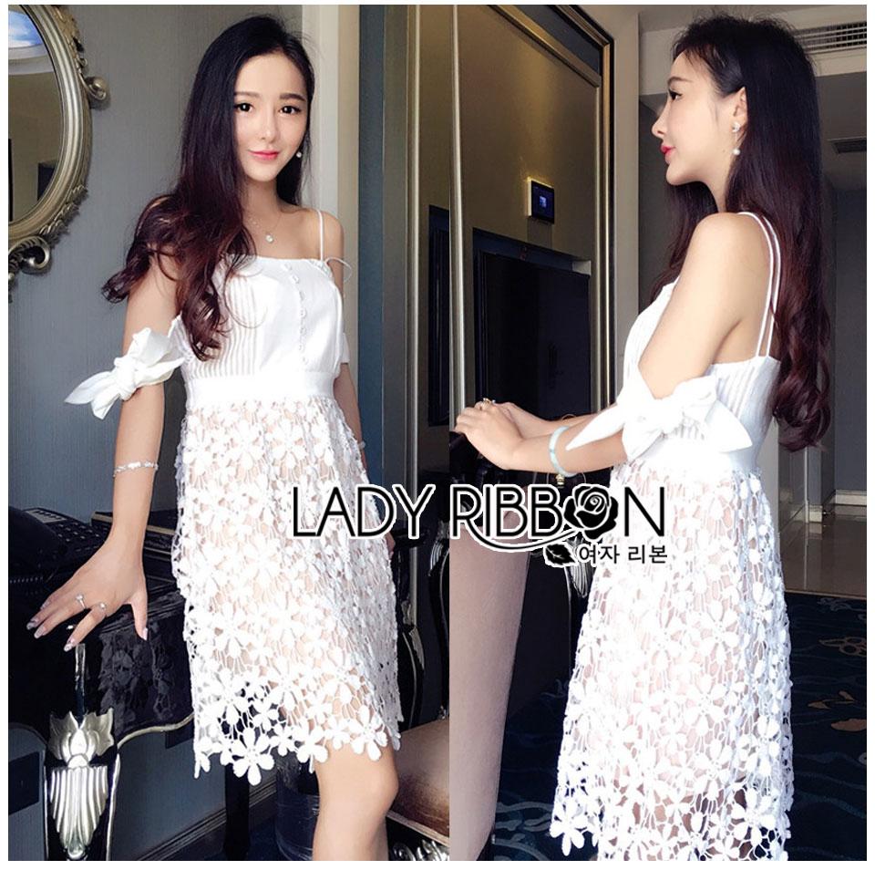 Lady Maria Sweet Sexy Stripy Ribbon Lace Dress L258-7903