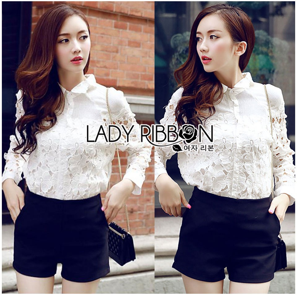 Lady Blaire Floral Embroidered Lace Shirt in White L274-7509