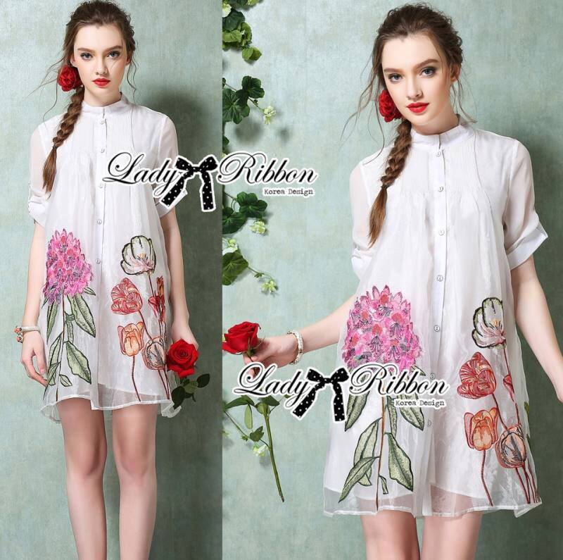 Lady Claire Flower Embroidered Organza and Cotton Shirt Dress L194-75C01