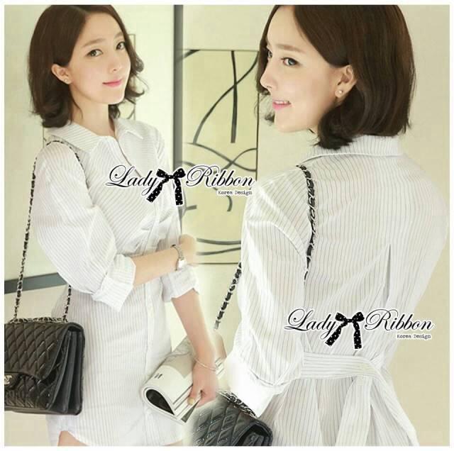 Lady Emily Basic Striped Shirt Dress in White