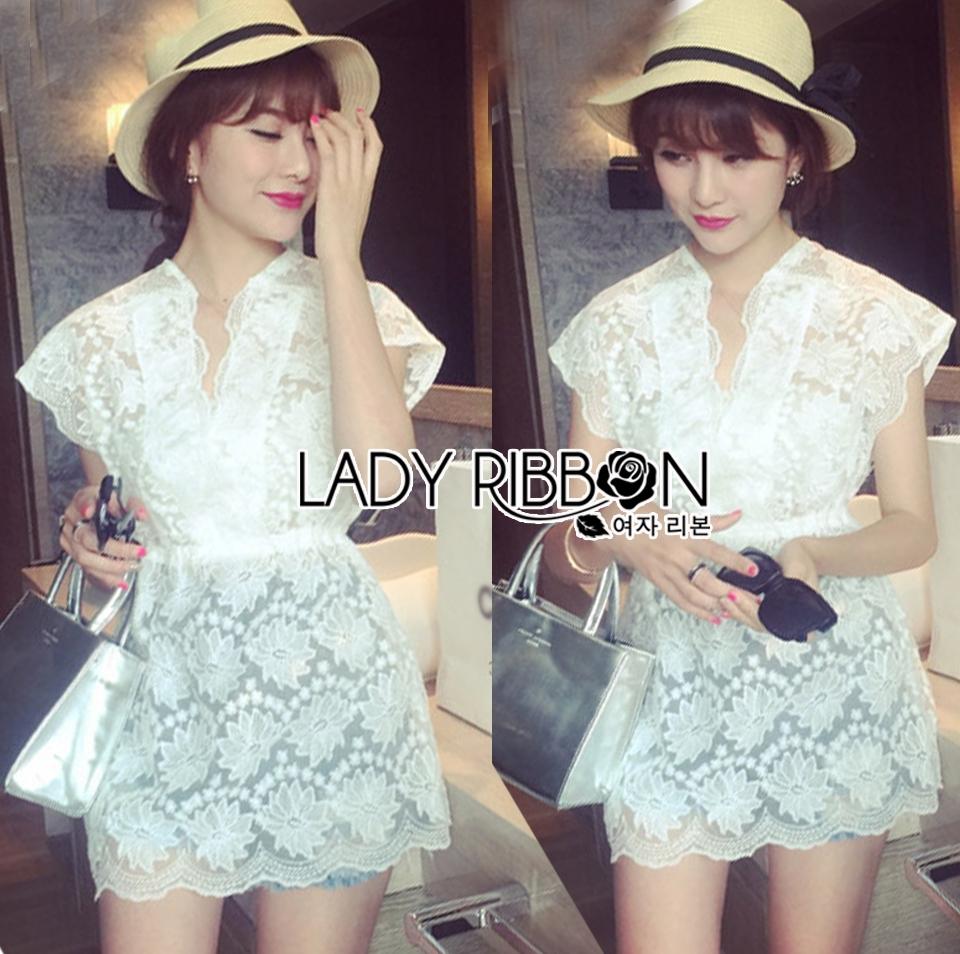 Abigail Pretty and Sexy White Lace Mini Dress L216-65C04